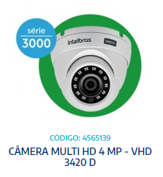 CÂMERA MULTI HD 4 MP - VHD 3420 D - INTELBRAS - UNIT