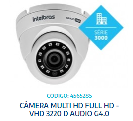 CÂMERA MULTI HD - VHD  3220 D GA - ALC: 20 mts INTELBRAS - UNIT